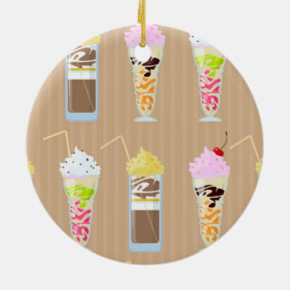 Fun Milk Shake Design Ceramic Ornament