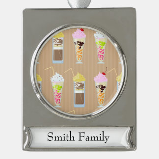 Fun Milk Shake Design Silver Plated Banner Ornament