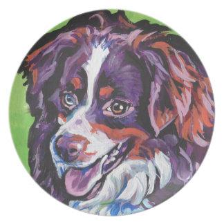 FUN miniature australian shepherd pop art painting Plate