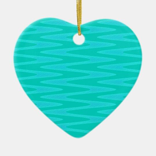 Fun Minty Teal Gree Aqua Zigzag Pattern Ceramic Ornament