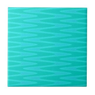 Fun Minty Teal Gree Aqua Zigzag Pattern Ceramic Tile