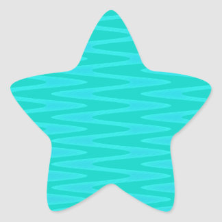 Fun Minty Teal Gree Aqua Zigzag Pattern Star Sticker