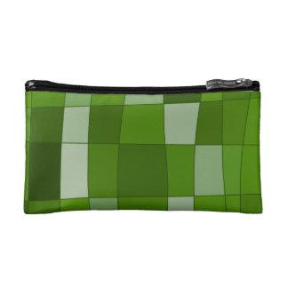 Fun Mirror Checks in Green Cosmetic Bags