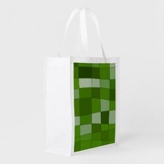 Fun Mirror Checks in Green Grocery Bag