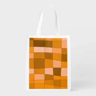 Fun Mirror Checks in Orange Reusable Grocery Bags