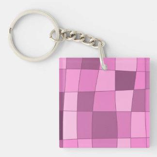 Fun Mirror Checks in Pink Keychain
