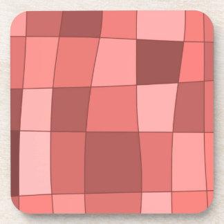Fun Mirror Checks in Salmon Pink Drink Coasters