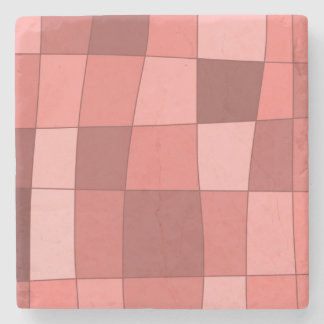 Fun Mirror Checks in Salmon Pink Stone Beverage Coaster