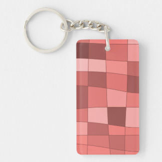 Fun Mirror Checks in Salmon Pink Keychain