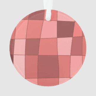 Fun Mirror Checks in Salmon Pink Ornament