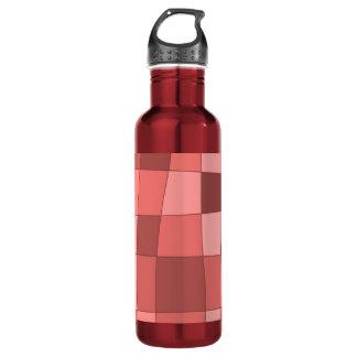 Fun Mirror Checks in Salmon Pink Water Bottle