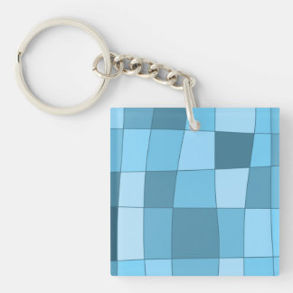Fun Mirror Checks in Sky Blue Keychain