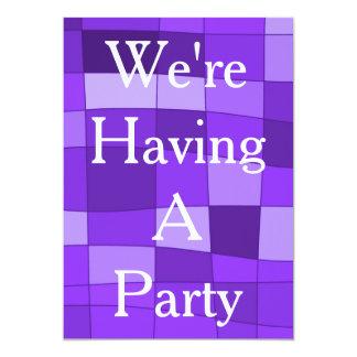 """Fun Mirror Checks in Violet 5"""" X 7"""" Invitation Card"""