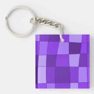 Fun Mirror Checks in Violet Keychain