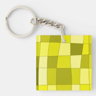 Fun Mirror Checks in Yellow Keychain
