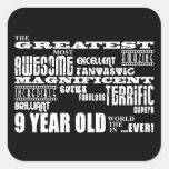 Fun Modern 9 Birthday Party Greatest Nine Year Old Square Sticker