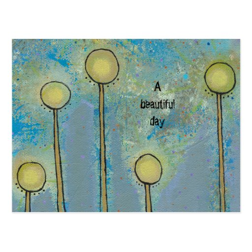 Fun modern abstract art flowers customize your own post cards