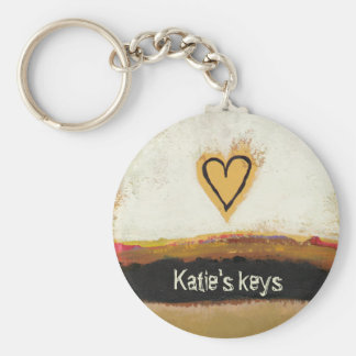 Fun modern art heart painting customize your own basic round button keychain