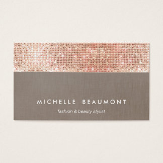 Fun Modern Beauty and Fashion Faux Copper Sequin Business Card