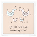 "Fun Modern Birds Twin Baby Shower Invitation 5.25"" Square Invitation Card"