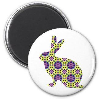 Fun modern bunny 2 inch round magnet
