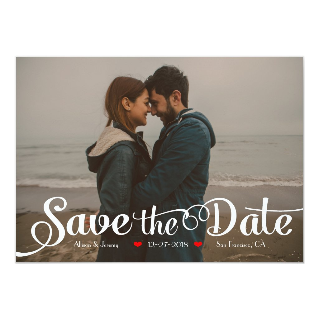 Fun Modern Calligraphy Sepia Photo Save the Date