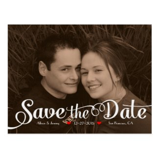 Fun Modern Calligraphy Sepia Photo Save the Date Postcard