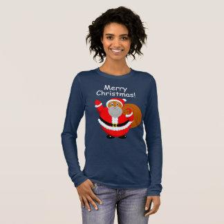 Fun modern cartoon of a jolly Black Santa Claus, Long Sleeve T-Shirt