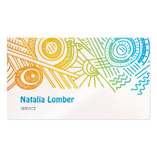 Fun Modern Colorful Doodle Profile Template Double-Sided Standard Business Cards (Pack Of 100)