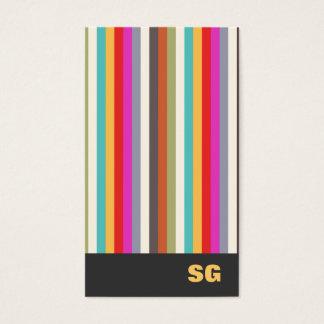 Fun Modern Colorful  Striped Monogram Business Card