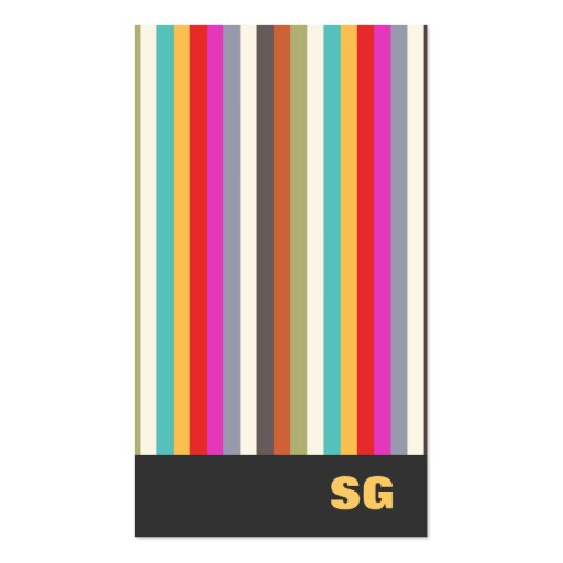 Fun Modern Colorful Vertical Stripes Business Card