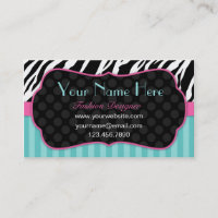 Fun, Modern, Colorful Zebra.  Blue, Pink & Black Business Card