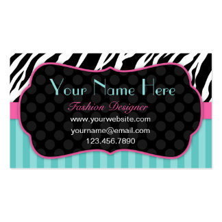 Fun, Modern, Colorful Zebra.  Blue, Pink & Black Double-Sided Standard Business Cards (Pack Of 100)