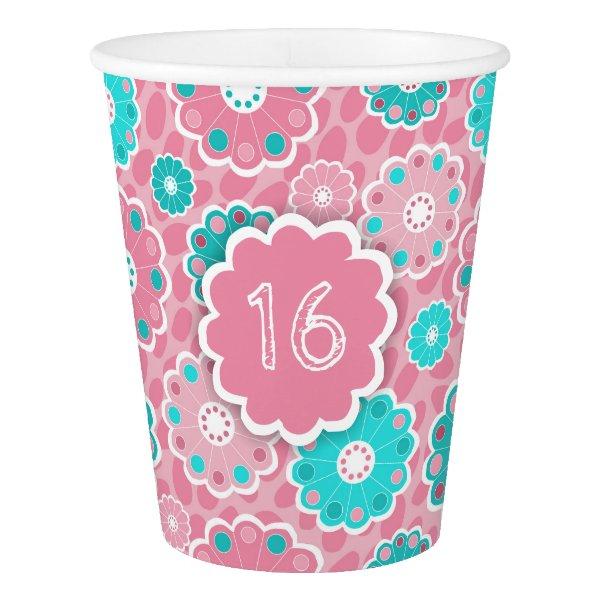 Fun modern floral pink and aqua paper cup