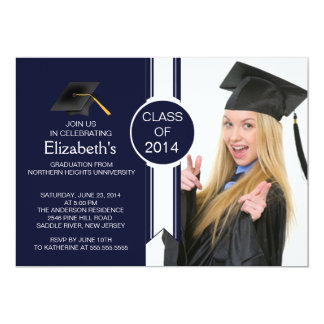 Fun Modern Graduate Photo Graduation Party Personalized Invitations