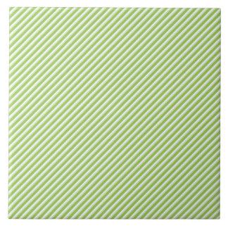 Fun Modern Lime Green Diagonal Line Pattern Tile