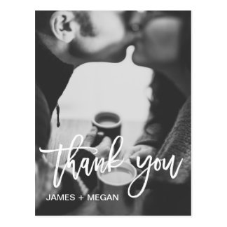 Fun modern Photo Wedding/ Engagement Thank You Postcard