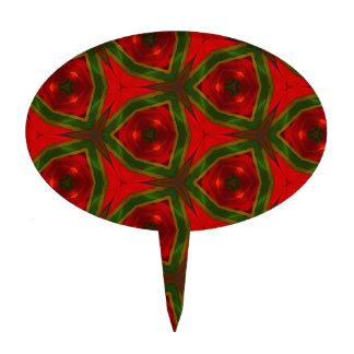Fun Modern Seasonal Red Green Pattern Cake Topper