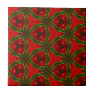 Fun Modern Seasonal Red Green Pattern Tile