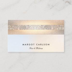 Fun  Modern Silver Sequin Gold Beauty Salon Business Card