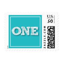 Fun Modern Square Blue ONE Boy 1st Birthday Stamps