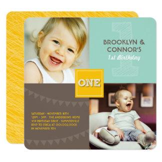 Fun Modern Square ONE Baby Twins 1st Birthday Card