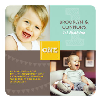 Fun Modern Square ONE Baby Twins 1st Birthday 5.25x5.25 Square Paper Invitation Card