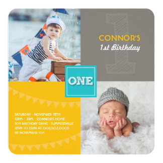 Fun Modern Squares ONE Photo Baby Boy 1st Birthday Card