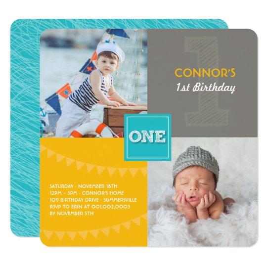 Fun Modern Squares ONE Photo Baby Boy 1st Birthday Invitation