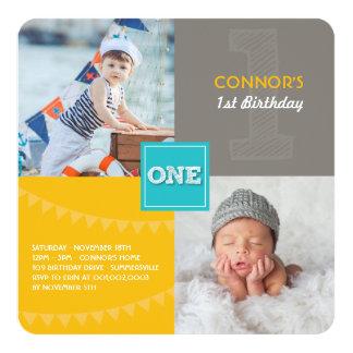 Fun Modern Squares ONE Photo Baby Boy 1st Birthday Custom Invitations