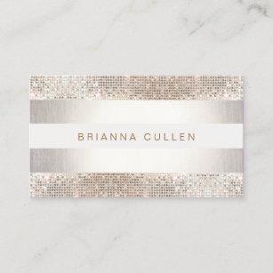 Sequin business cards zazzle fun modern stripes silver sequin business card colourmoves