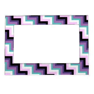 fun modern zig zag pink purple aqua chevron magnetic photo frame