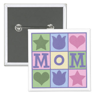 Fun Mom Quilt Squares Square Button