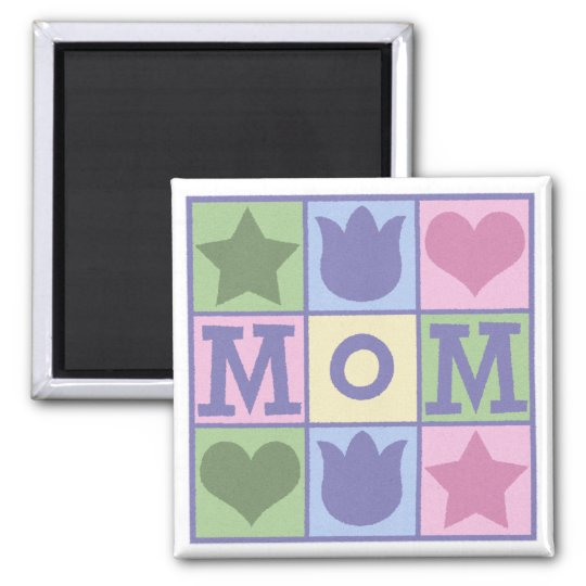 Fun Mom Quilt Squares Square Magnet